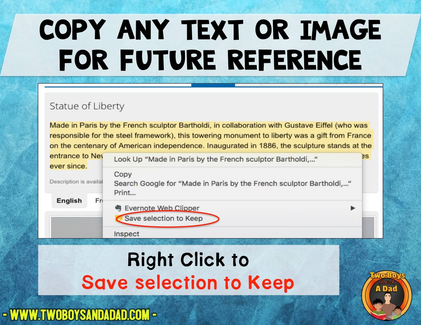 Save text and images for future use