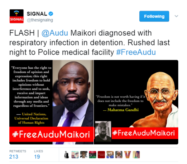 Audu Maikori Reportedly Diagnosed with Respiratory Infection in Detention