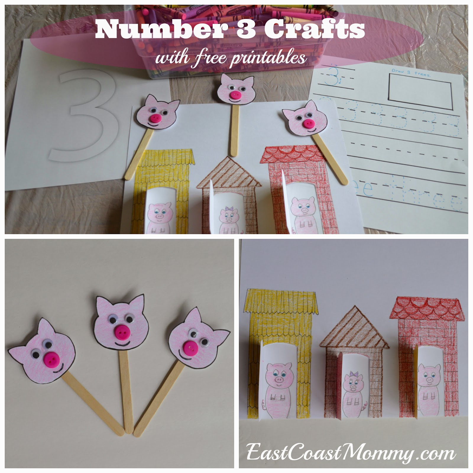 East Coast Mommy Number Crafts Number Three The Three Little Pigs