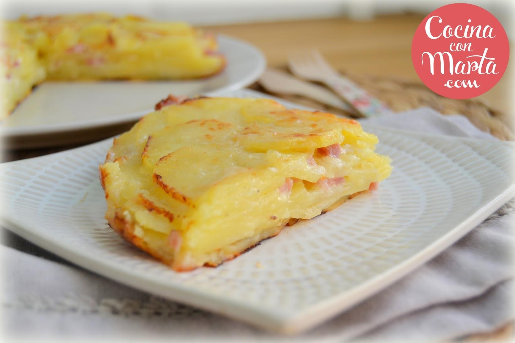 Receta casera milhoja de patatas con bacon y queso, Mil hoja, Olla GM, fácil, rápido, Cocina con Marta