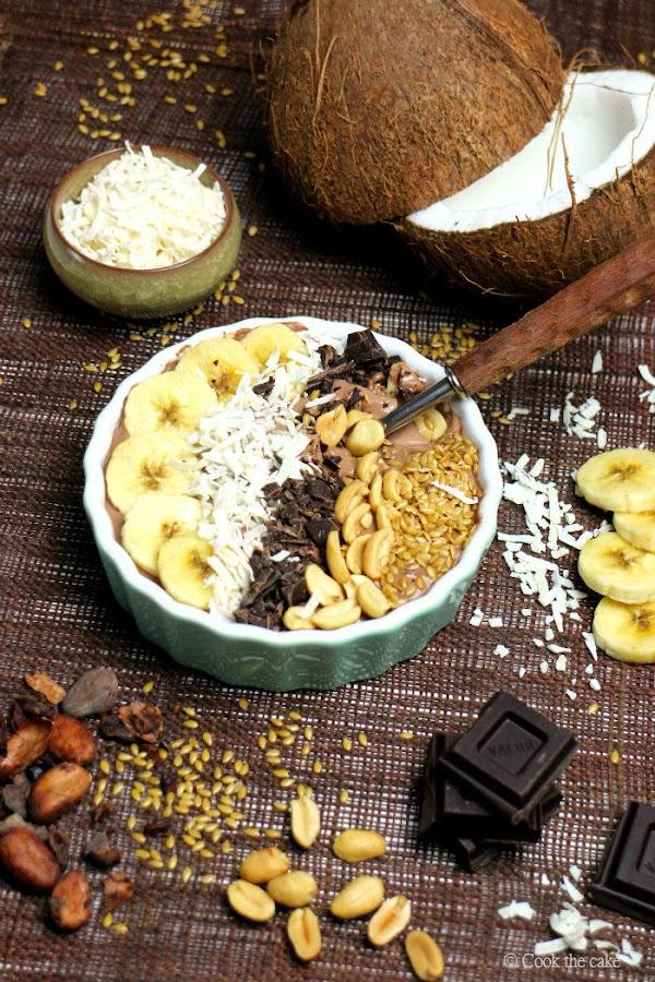 smoothie bowl, smoothie de chocolate