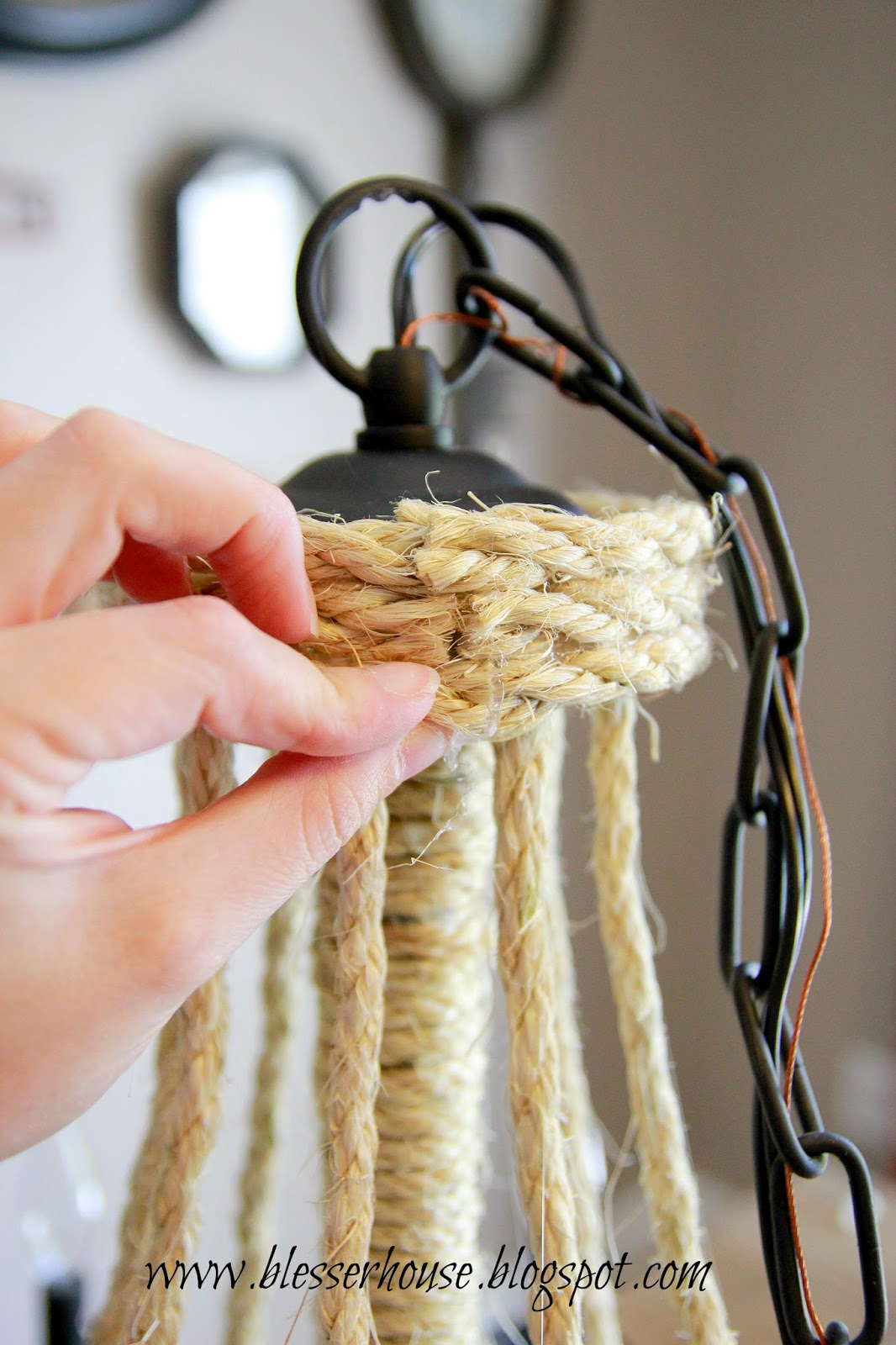 Diy Knock Off Shelves: DIY Restoration Hardware Knock-Off Rope Chandelier