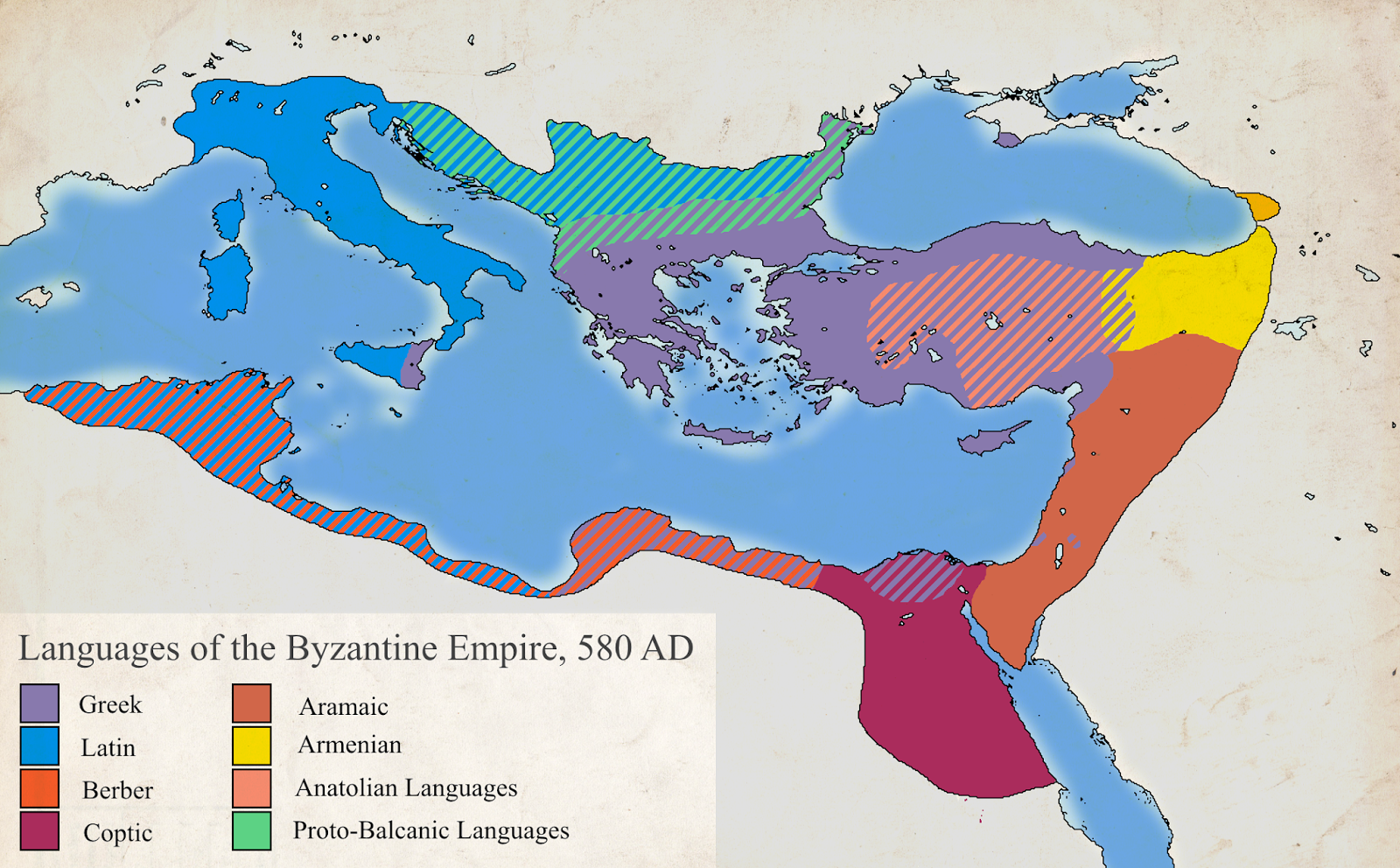 Languages of the Byzantine Empire (580 AD)