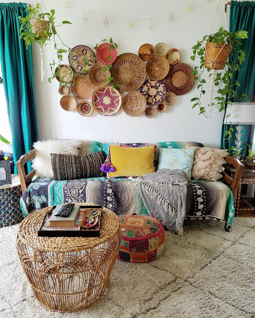 Designer Curated Bohemian Basket Wall Decorating - TheBohoAbode.net