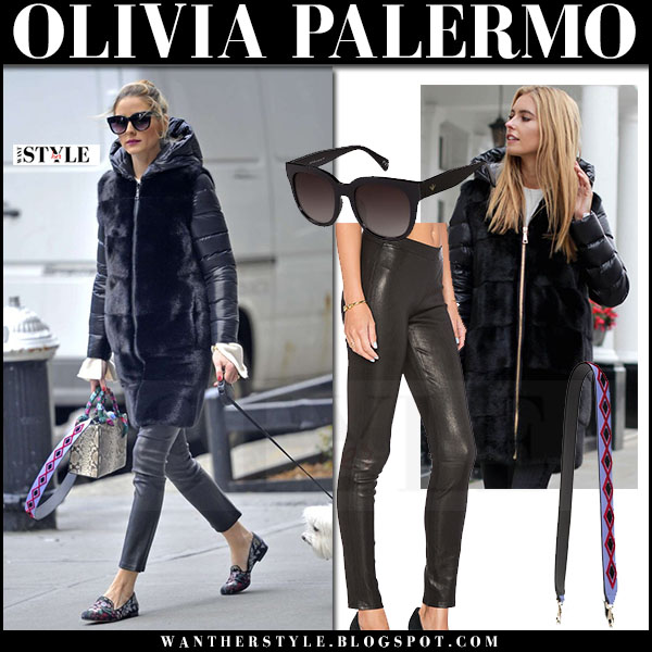 Olivia Palermo in down mink fur puffer coat mila furs, black leather pants j brand edita with snake skin bag what she wore walking dog mr butler