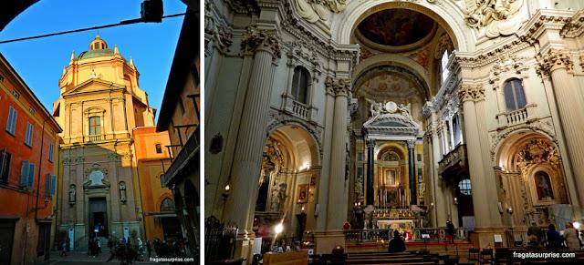 A fachada e o altar-mor da Igreja de Santa Maria della Vita, Bolonha, Itália