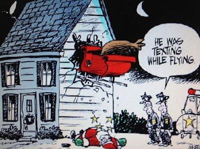 Funny Santa's texting while driving funny