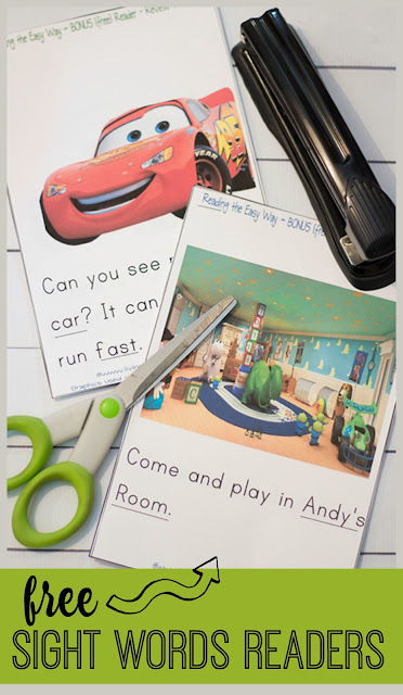 FREE Sight Words Readers inspired by Disney Cars and Toy Story movies that will inspire preschooler and kindergarten age kids to read