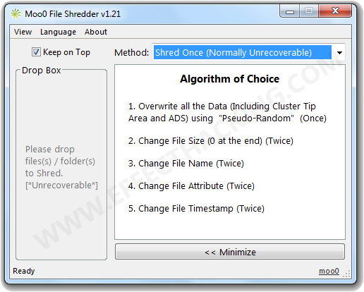 Moo0 File Shredder Screenshot