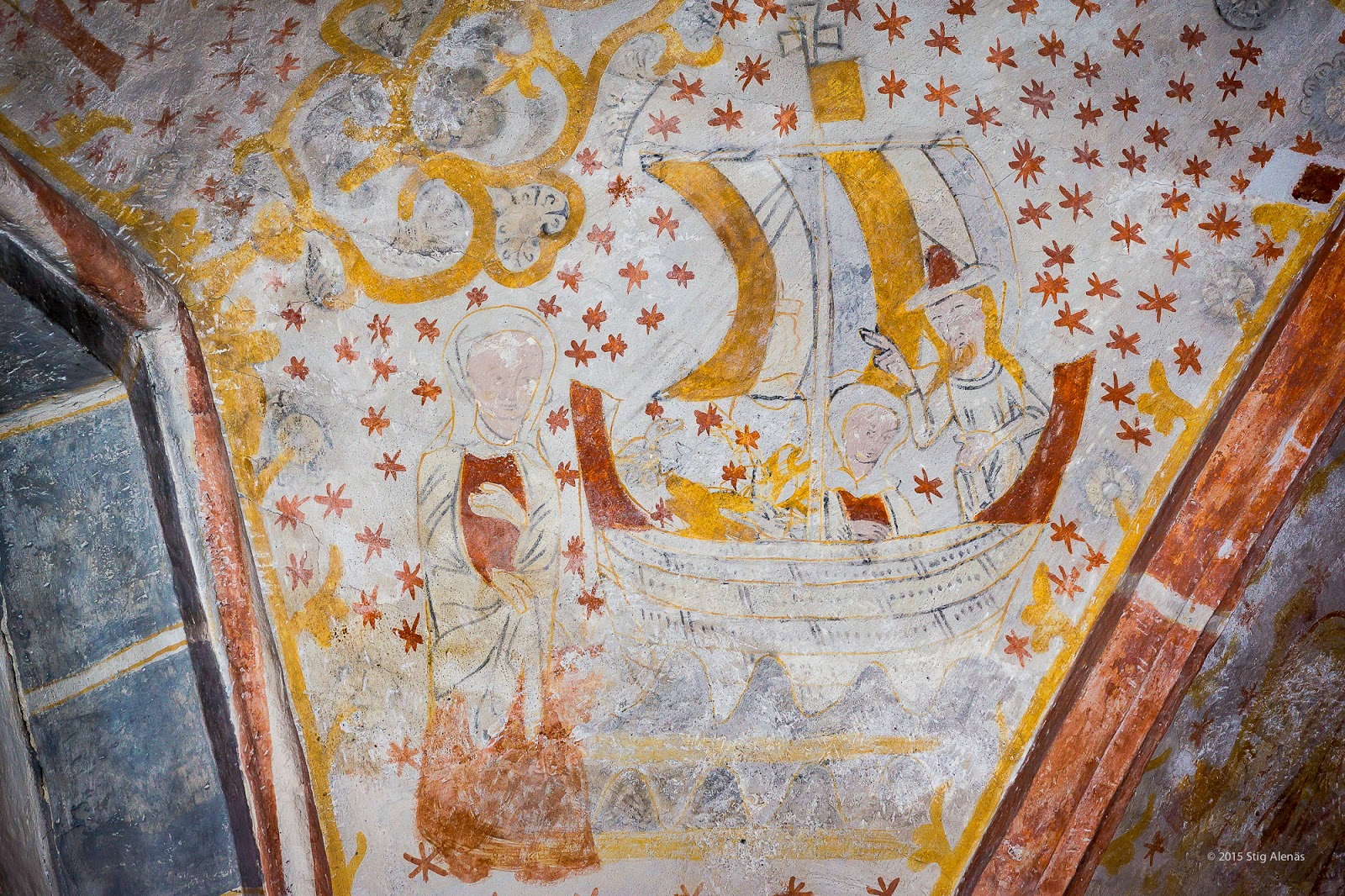 ark, vault, mural, eagle, wife, ceiling, ship, noah, editorial, sweden, church, heritage, architecture, interior, fresco, religion, art, sail, rabbit, gothic, noah's ark, fjelie, wall-painting, https://www.shutterstock.com/image-photo/gothic-fresco-noah-his-wife-ark-541311220