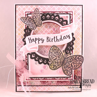 Our Daily Bread Designs Stamp/Die Duos: Wavy Words, The Greatest Gift, Stamp: Chalkboard Lattice Background, Custom Dies: Pierced Rectangles, Rectangles, Lavish Layers, Circles, Double Stitched Circles, Filigree Circles. Paper Collection: Romantic Roses