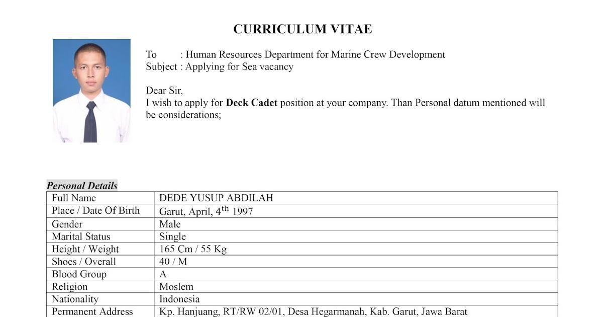 Contoh Cv Curriculum Vitae Untuk Cadet Dya Sailor