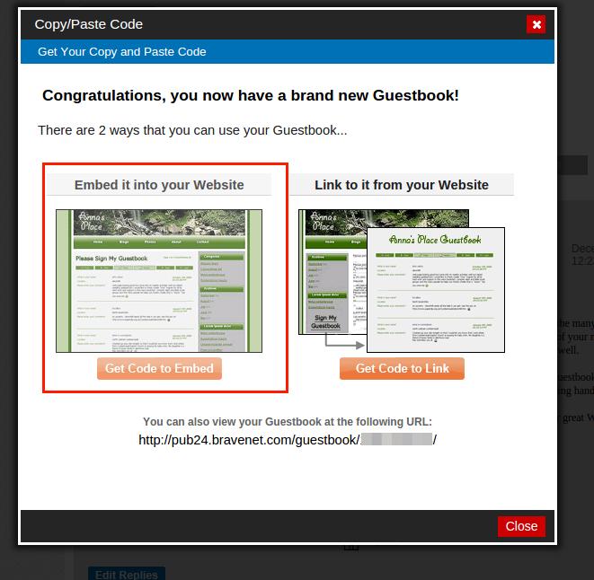 Bravenet Guestbook을 이용하여 Blogger 방명록 추가 방법 13. Get Code to Embed를 선택