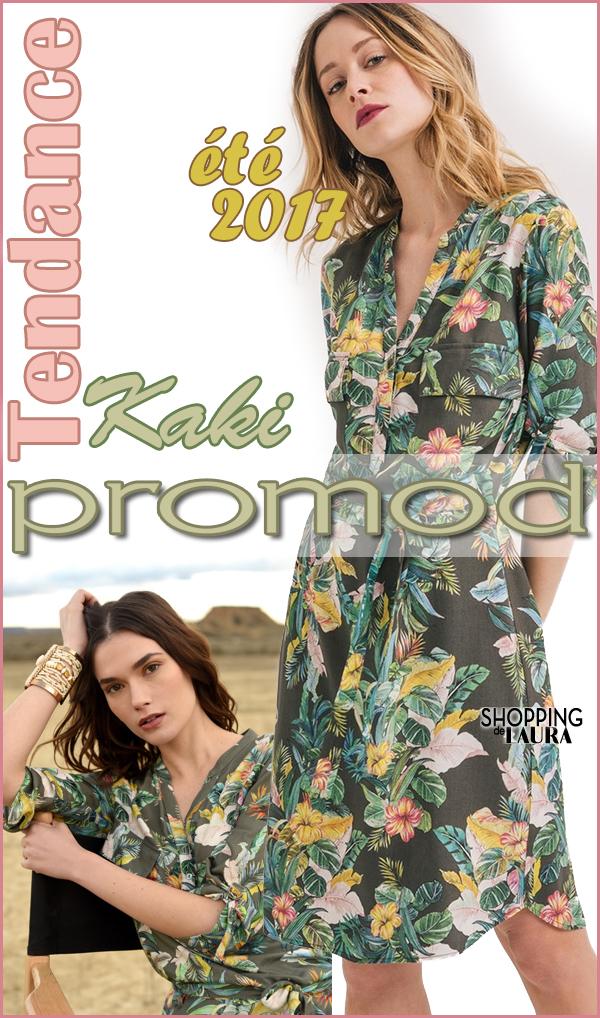 Robe Style Chemise Kaki Motif Fleuri Promod