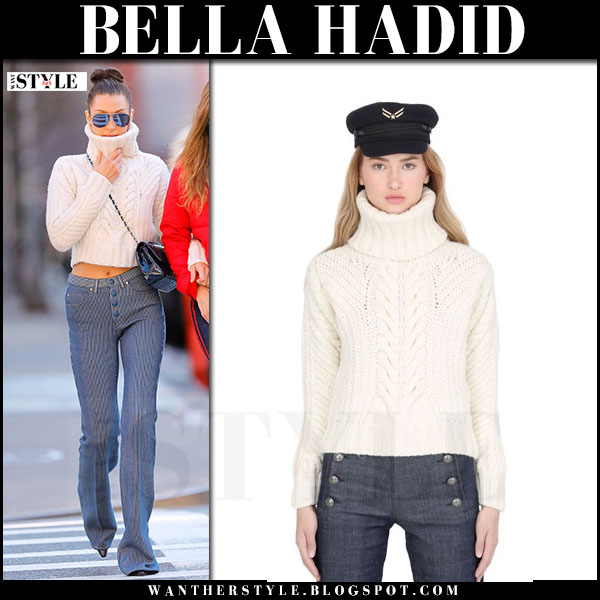 Bella Hadid in white knit turtleneck sweater tommy x gigi and blue pinstripe trousers what she wore