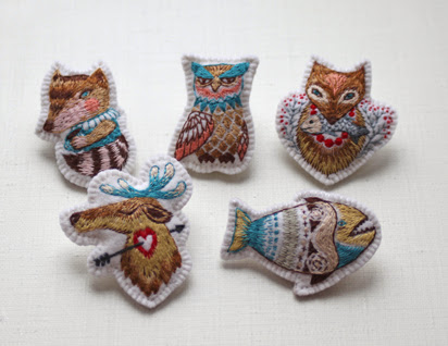 "Hand embroidery brooches ""My forest friends"""