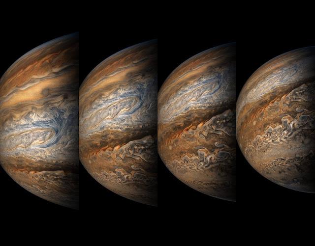 Hình ảnh Sao Mộc được chụp bởi tàu Juno vào lần thứ tám đến gần Sao Mộc trên quỹ đạo của tàu. Hình ảnh: NASA/JPL-Caltech/SwRI/MSSS/ Gerald Eichstädt/Sean Doran.