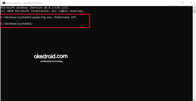 Mematikan fitur Mode Hibernate di CMD Command Prompt Windows 10