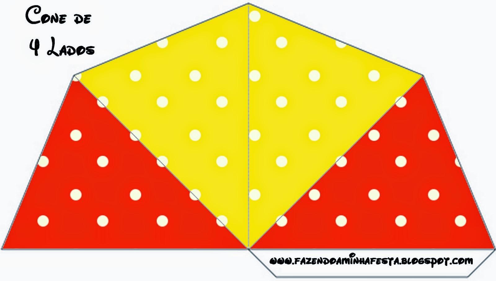 Conos=Cucuruchos para Imprimir Gratis de Rojo, Amarillo y Lunares Blancos.