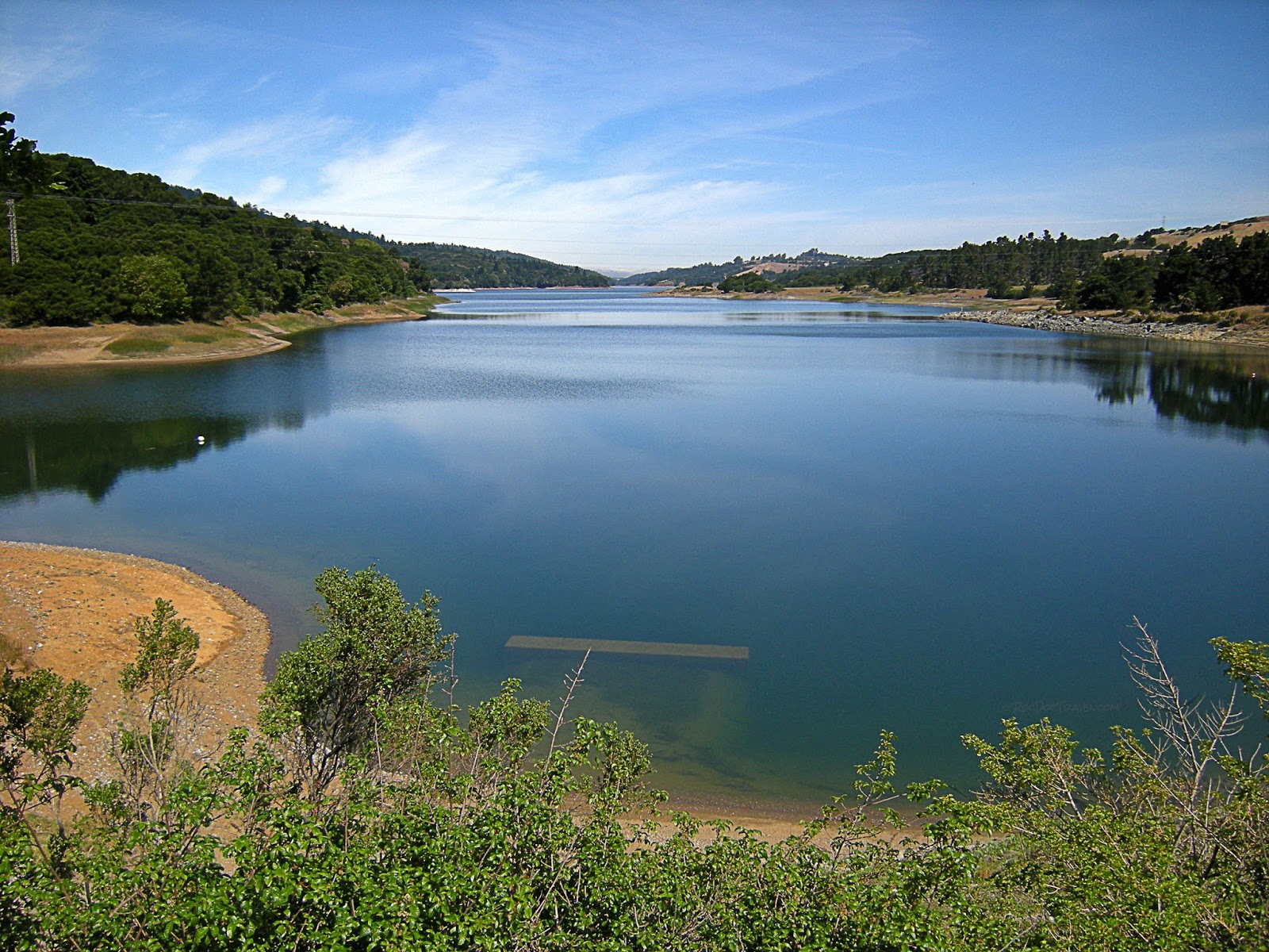 The 1906 earthquake ruptured the bottom of this lake, but its dam was not damaged.