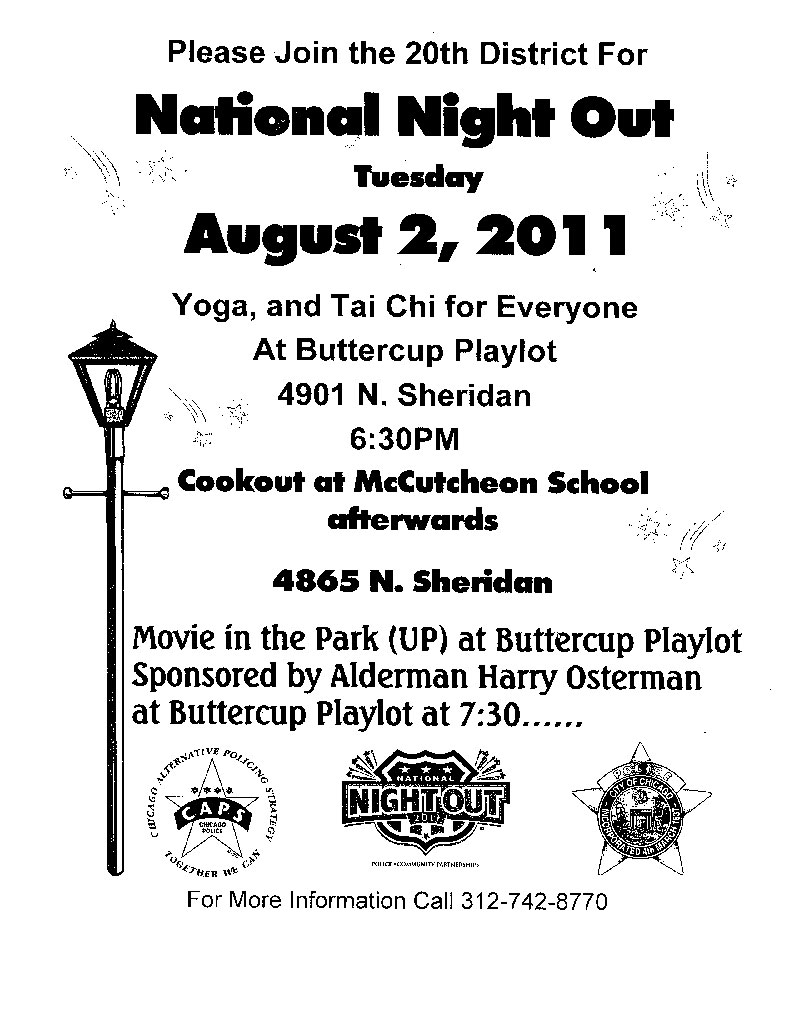 Uptown Update: National Night Out Is Tuesday (20th District)