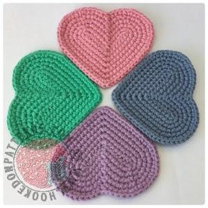 heart coasters crochet