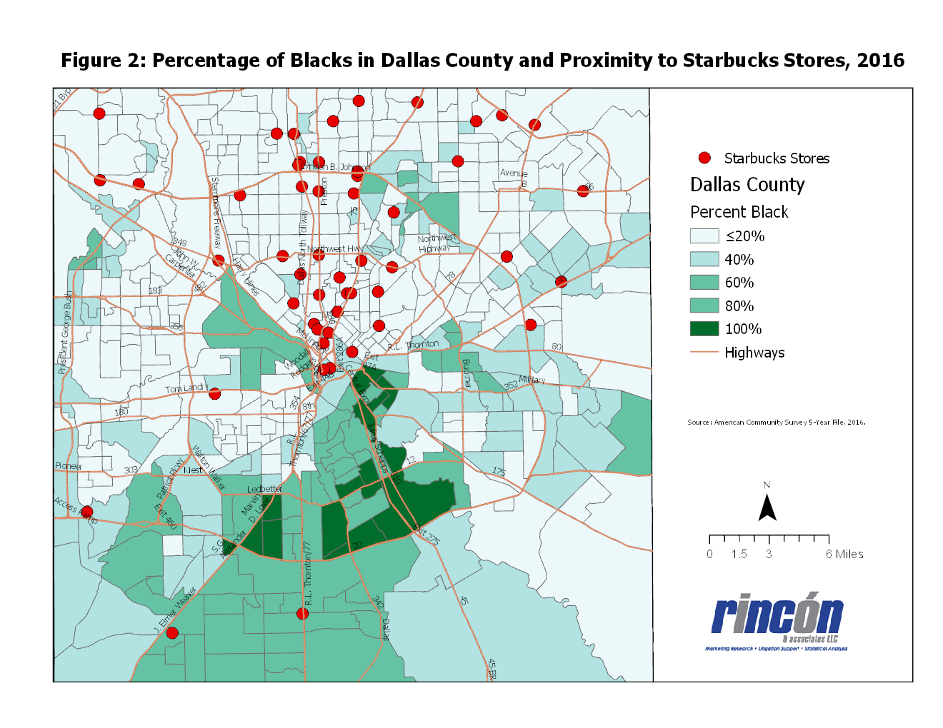 figure 2 below shows that few starbucks stores have been established in predominantly black communities