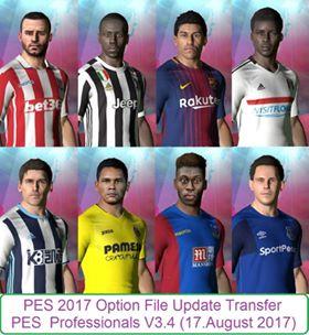 Option File PES 2017 Terbaru untuk PES Professional V3.4 update 17/8/2017