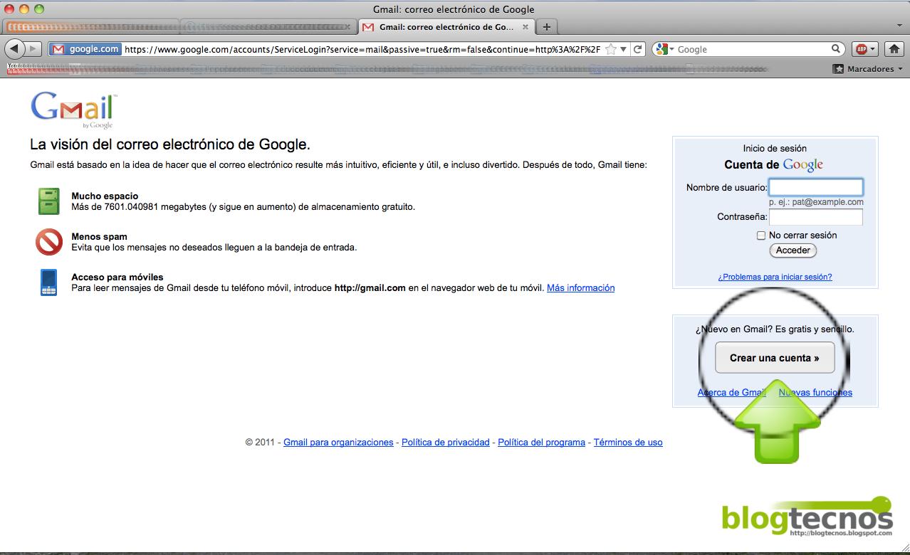 Blog TECNOS: Abrir una cuenta en Gmail de Google