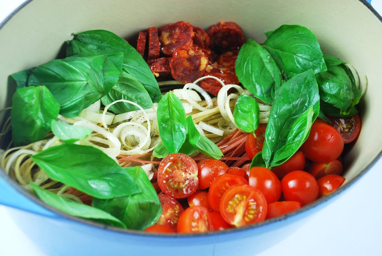 Recette one pot pasta chorizo