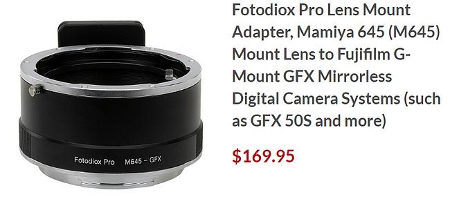 Адаптер Fotodiox для камер Fujifilm GFX и объективов Mamiya 645