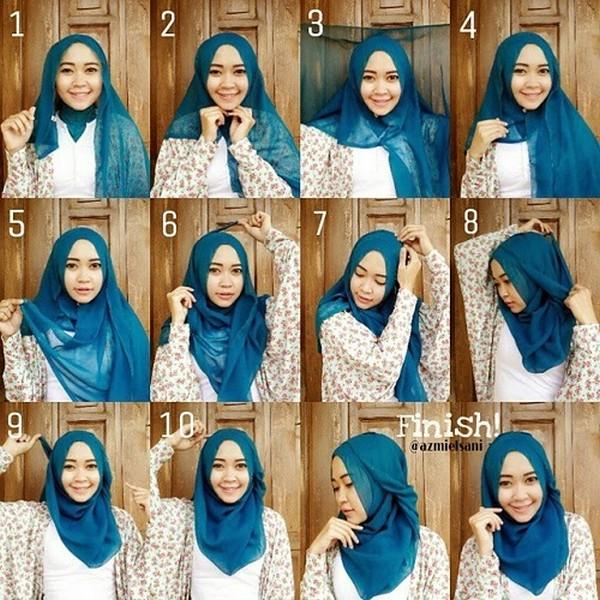 Tutorial Jilbab Segiempat Untuk Ke KantorTutorial Hijab Versi Gambar