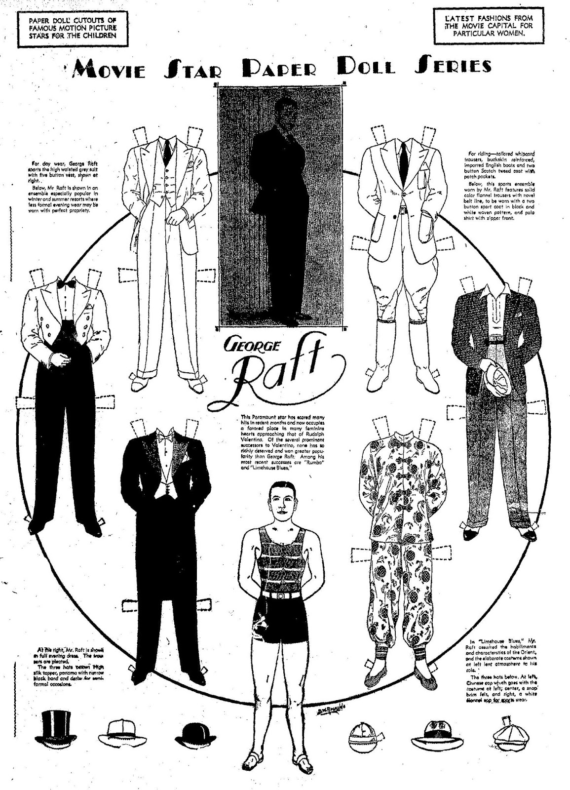 Mostly Paper Dolls Too!: GEORGE RAFT Paper Dolls, 1935