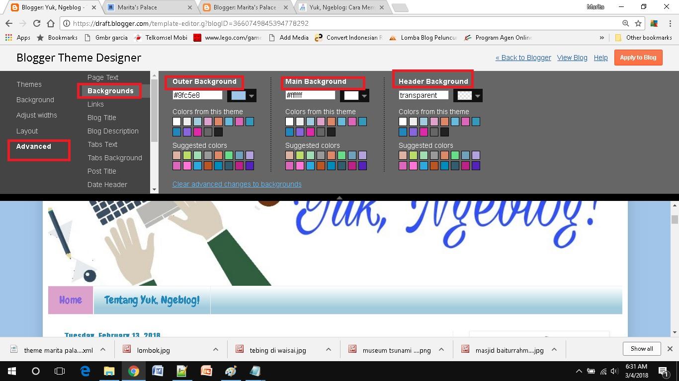mendesain template blog sederhana pilih-pilih warna cocok