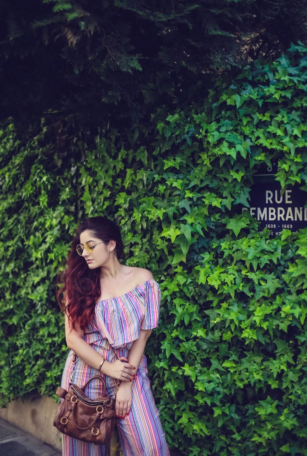 combinaison rayée à volant blog mode paris
