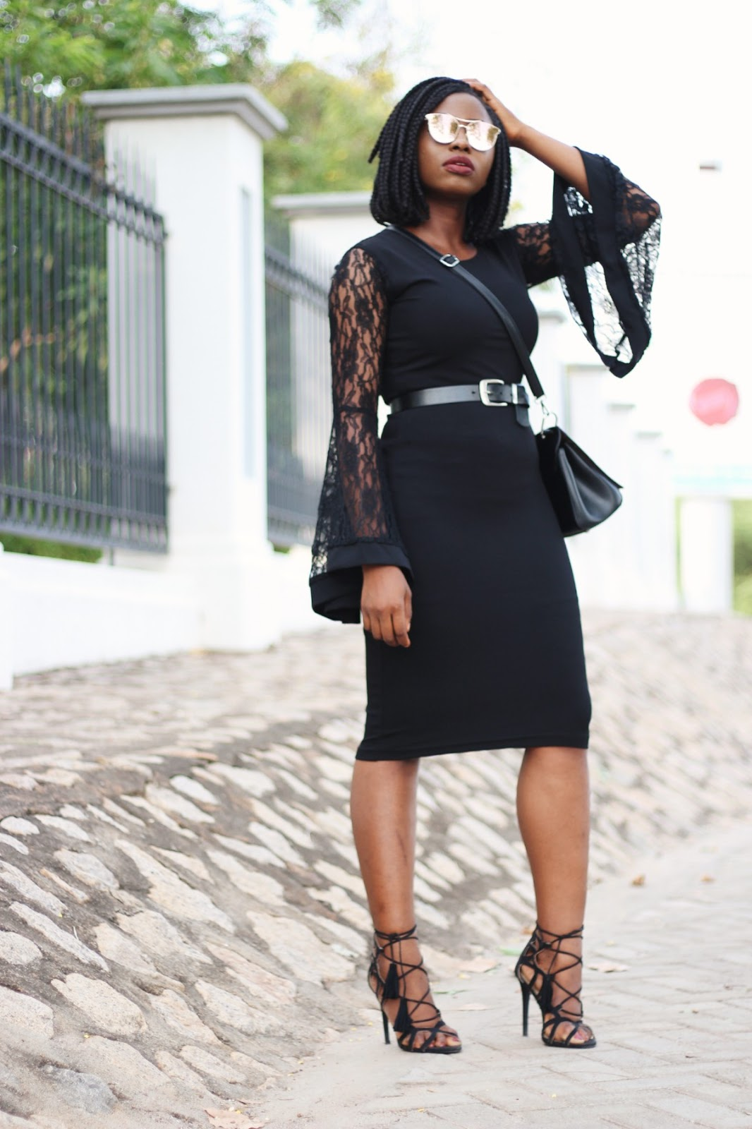 little black dress, lace, lbd, black, lace up heels, made in nigeria, flared sleeves
