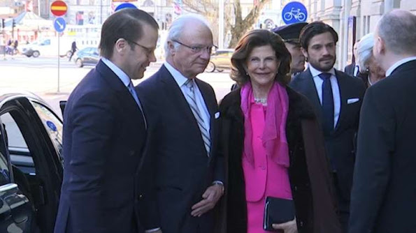 Queen Silvia, Prince Daniel and Prince Carl Philip at Baltic Sea Seminarfor King Carl Gustaf's 70th birthday celebrations