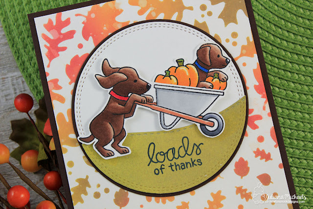 Detail image of Loads of Thanks Card by Juliana Michaels featuring Newton's Nook Designs Loads of Thanks Stamp Set created for Simon Says Stamps Stamptember®