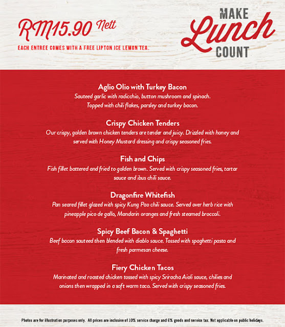TGI Fridays Lunch Menu