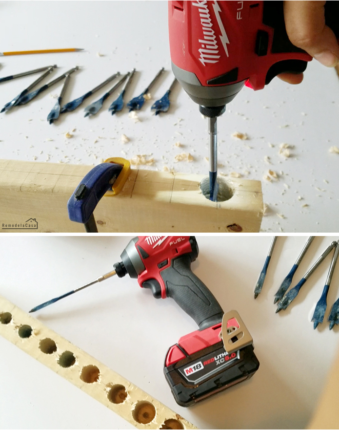 drilling holes  on wood.