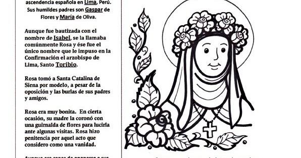Dibujos Clase De Religion: Me Gusta La Clase De Religión: Santa Rosa De Lima