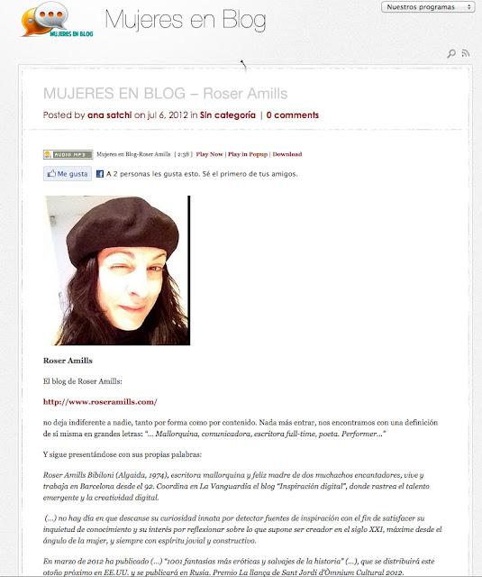 Roser Amills en 'Mujeres en blog' de InOut Radio
