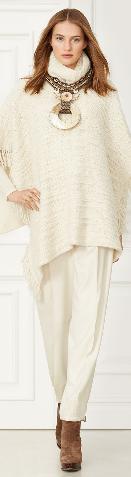 Ralph Lauren BOUCLÉ TURTLENECK PONCHO ROVING CREAM