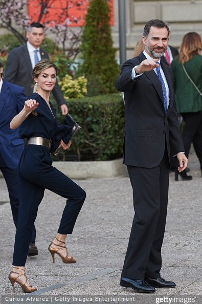 King Felipe VI of Spain and Queen Letizia of Spain attend the opening of 'Teresa de Jesus' exhibition at the National Library