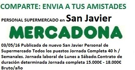 Lanzadera de Empleo Virtual Murcia. Oferta Mercadona San Javier