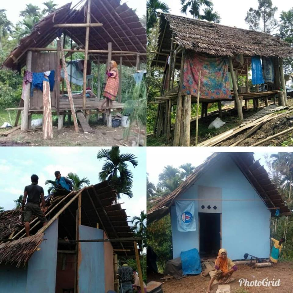 LPD Bersama Masyarakat Gotong royong Bangun Rumah sementara, untuk Janda Miskin,
