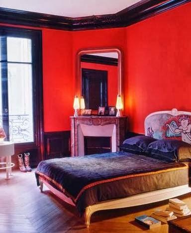 dormitorio pintado en rojo