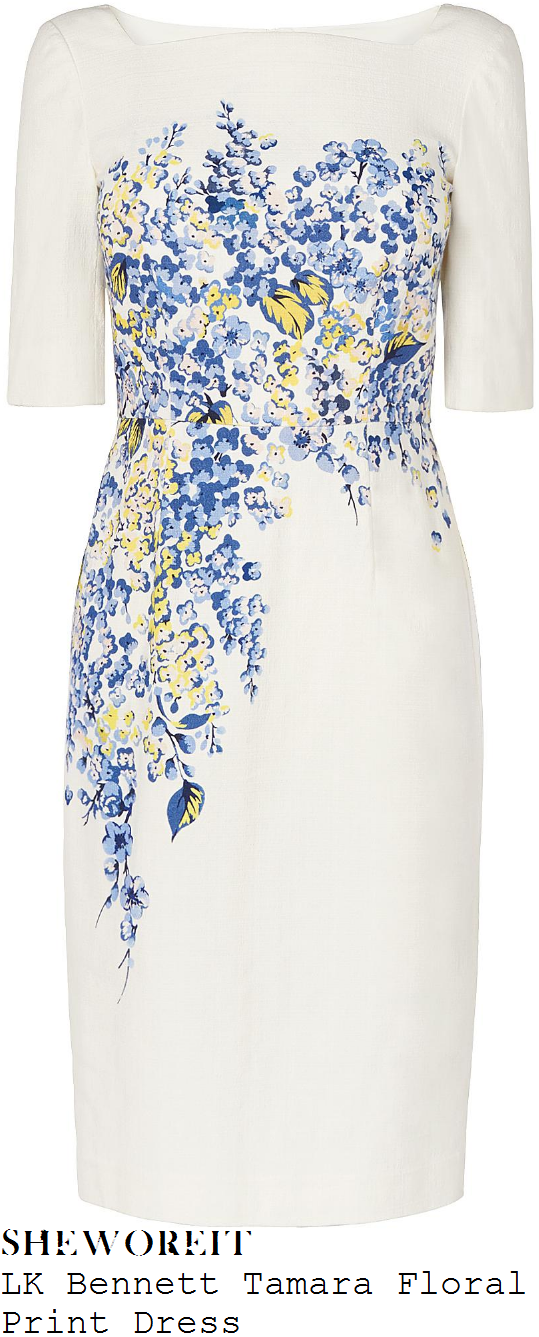 susanna-reid-lk-bennett-tamara-cream-blue-and-yellow-placement-floral-print-half-sleeve-tailored-pencil-dress