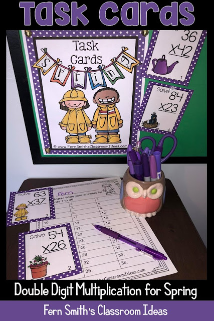 You will love this Spring Multiplication Task Cards, Recording Sheets and Answer Keys! It is so easy to prepare these task cards for your centers, small group work, scoot, read the room, homework, seat work, the possibilities are endless. Your students will enjoy the freedom of task cards while learning and reviewing important skills at the same time! Perfect for review while you work with your small groups. Students can answer in your classroom journals or with the included three different recording sheets. Perfect for an assessment grade for the week.Thirty-six {36} colored task cards, thirty-six black and white task cards, 3 print and go worksheets and 3 answer keys that can be used as self-checking sheets for any math center. Add some rigor and fun to your math class with these Spring task cards! #FernSmithsClassroomIdeas