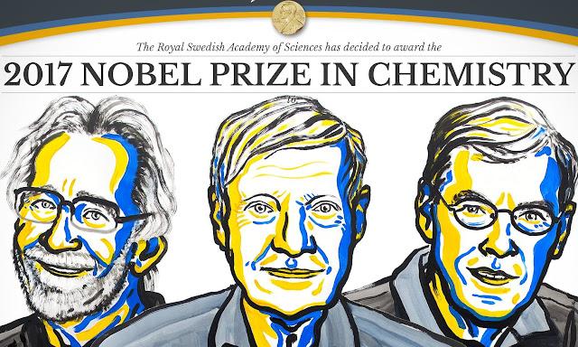 Tiến sĩ Jacques Dubochet, Tiến sĩ Joachim Frank và Tiến sĩ Richard Henderson đã được trao giải Nobel Hóa học năm 2017 cho kỹ thuật dựng ảnh ba chiều các phân tử sinh học. Đồ họa: NobelPrize.org.